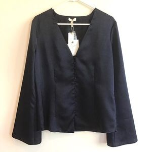 JOIE navy blue blouse with button details L